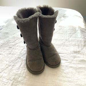 UGG Grey Bailey Button Triplet Boots Great Shape!